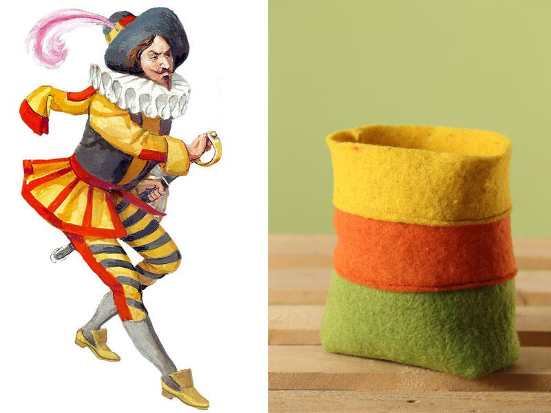 Sacchetto tricolore ispirato a Capitan Fracassa